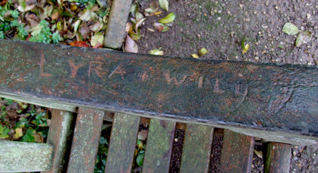 Graffiti on Will and Lyra's bench