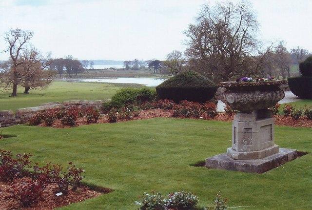 Garden ornament and gardens at  Powderham Castle, Devon