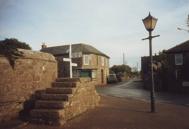Steps and sign post, St Buryan, Cornwall
