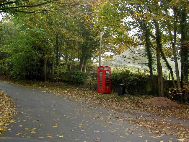 Telephone box at the entrance to Plumpton Rocks