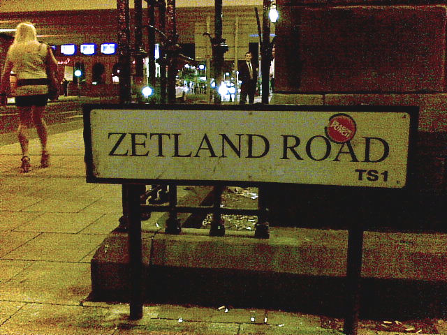 'Zetland Road' sign, at the Albert Road junction
