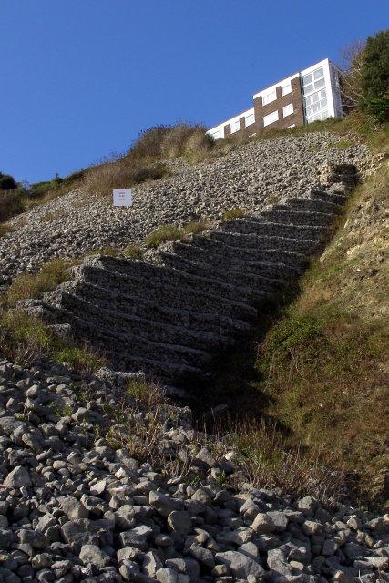 Gabion wall of cliff reinforcement, Durlston Bay