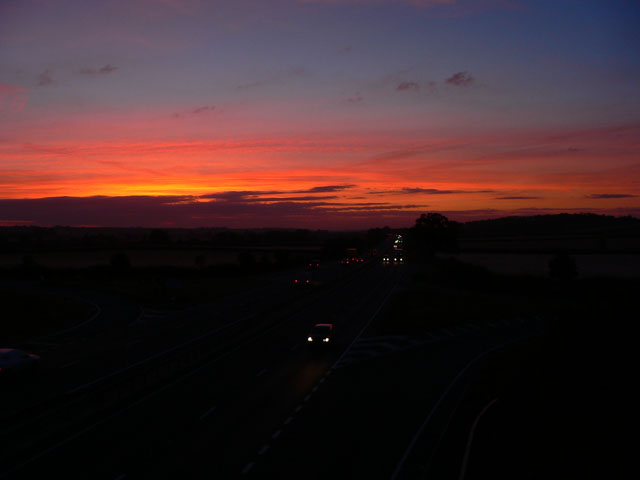 Sunrise over the A14