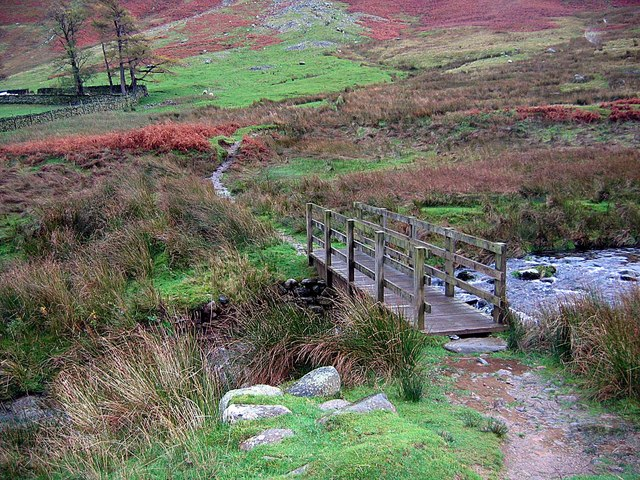 Footbridge crossing Fusedale Beck