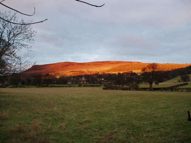 Sunset on Bamford Edge from Station Road