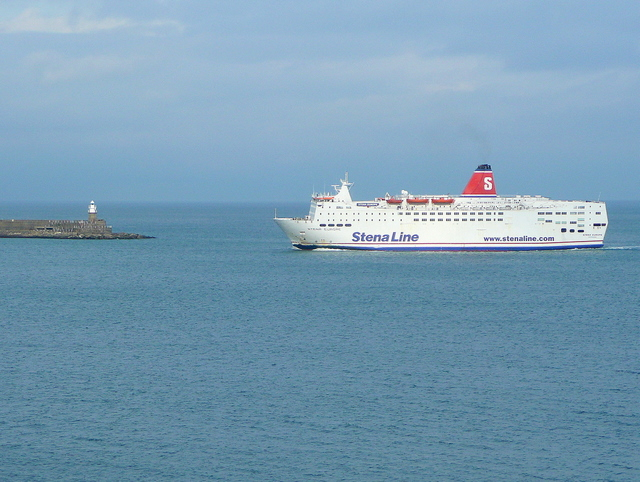 Stena ferry rounding Fishguard Harbour breakwater