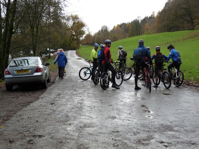 Mountain bikers after descent from Claife Heights