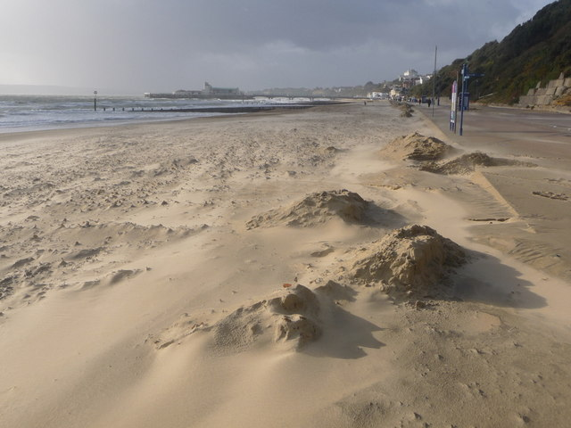 Bournemouth: smooth looking beach on a windy day