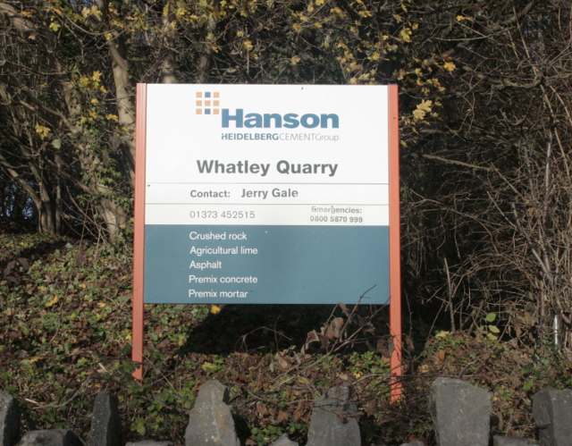 near to Whatley, Somerset, Great Britain. Sign at the main entrance to