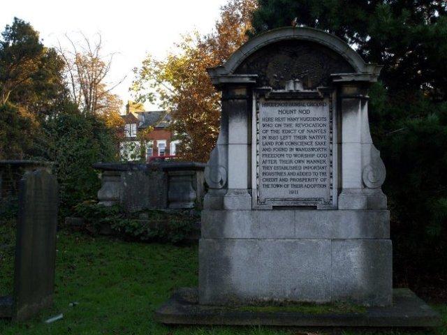 Huguenot memorial at Mount Nod in Wandsworth