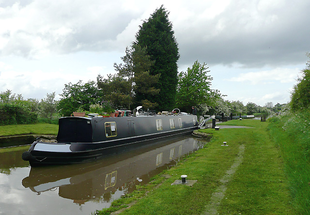 Narrowboat leaving Adderley Bottom Lock, Shropshire