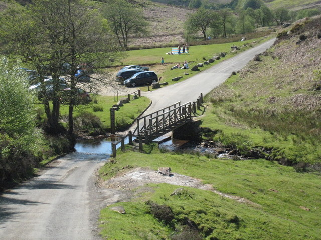 Footbridge, ford and car park at Hob Hole