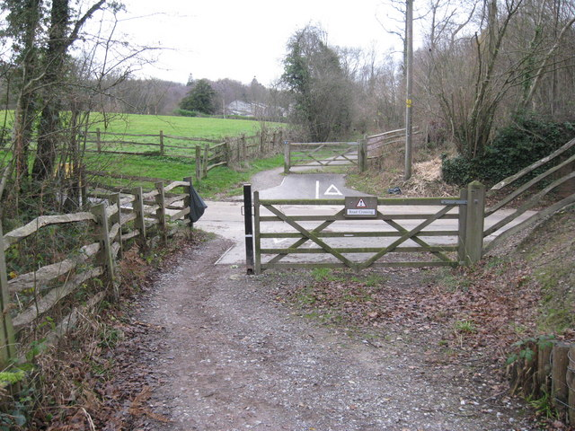 Worth Way crossing a private road to Rowfant Business Centre about 1 mile from Crawley Down, West Sussex