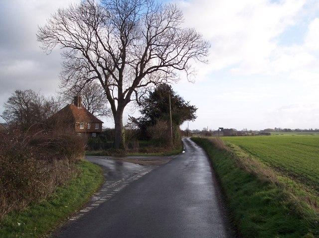 Road junction near Bagshott Cottage