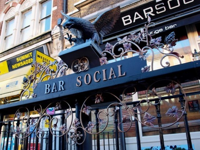 Sign for Bar Social on Wandsworth Road, Lavender Hill, Battersea