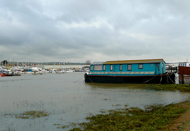 Houseboat and the River Adur, Shoreham Beach, West Sussex