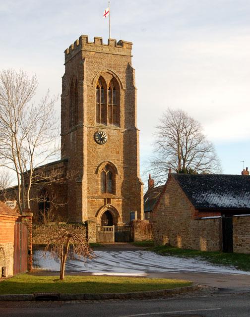 Afternoon sun on Staverton church