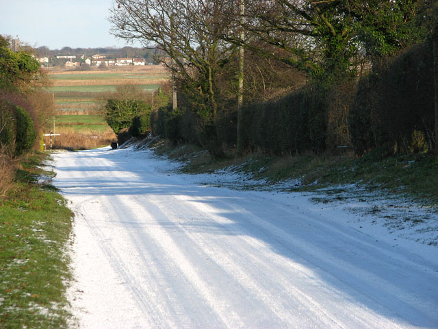 View north-east along an icy New Road