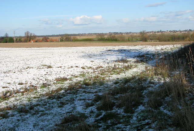 Frozen fields west of New Road