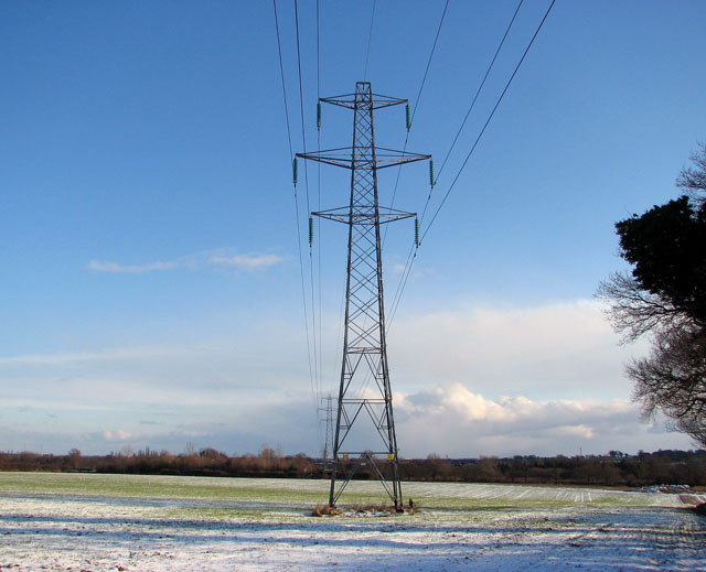 Electricity line over frozen fields