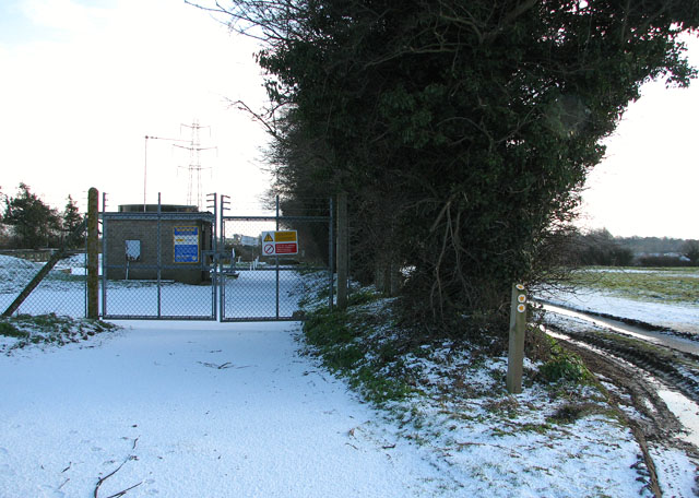 Entrance to sewage works east of New Road