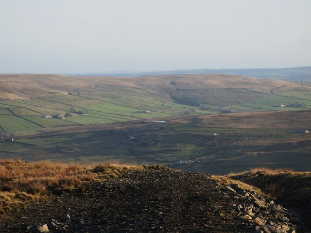 Panorama from the upper Rookhope lead smelting flue chimney (1: SE - Lintzgarth)