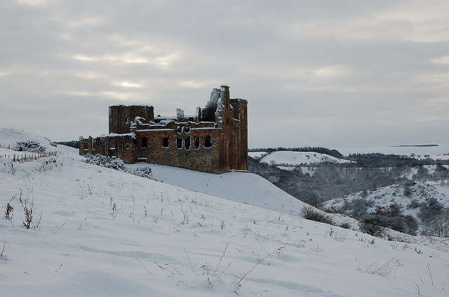 Crichton Castle in winter