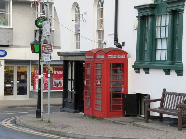 Phone boxes in the market place