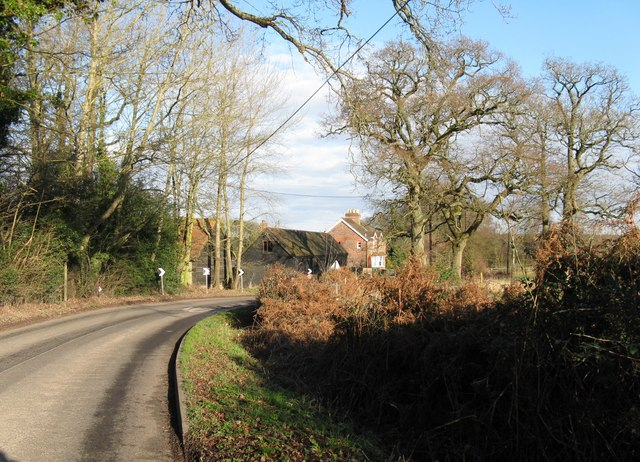 Bourne Hill Farm on sharp bend in road