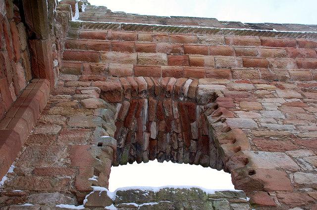 Window and battlements, Crichton Castle