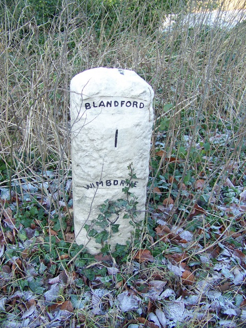 Milestone near Blandford Forum