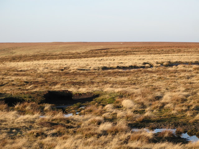 Panorama from the upper Rookhope lead smelting flue chimney (14: NW - Redburn Edge)