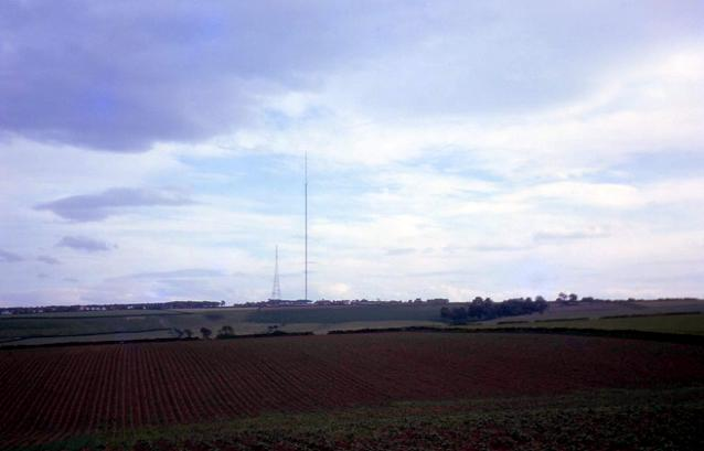 The old Emley Moor television masts in 1962