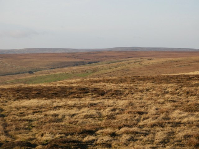 Panorama from the upper Rookhope lead smelting flue chimney (16: WNW - below Redburn Edge)