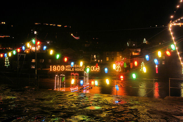 Christmas lights at Mousehole Harbour