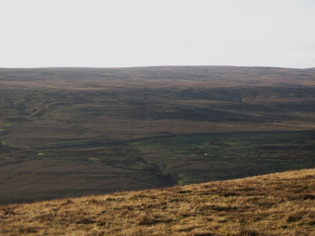 Panorama from the upper Rookhope lead smelting flue chimney (19: WSW - Wolfcleugh Common)