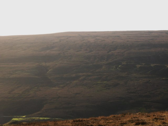 Panorama from the upper Rookhope lead smelting flue chimney (21: SW - Wolfcleugh Folds)