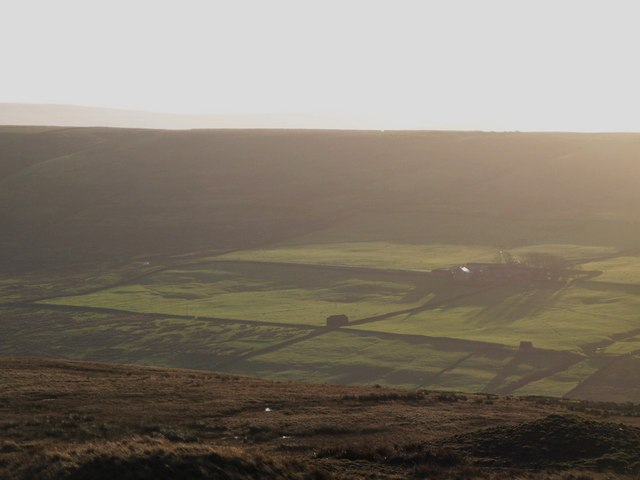 Panorama from the upper Rookhope lead smelting flue chimney (22: SSW - Wolfcleugh Farm)