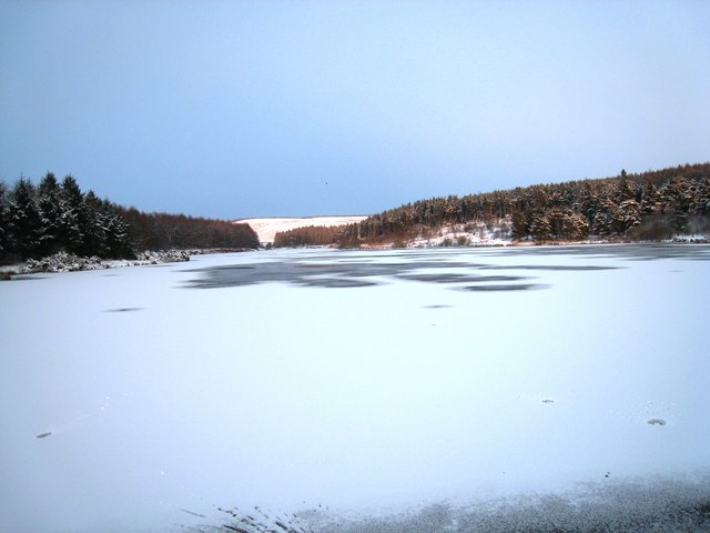 Cod Beck Reservoir in the snow