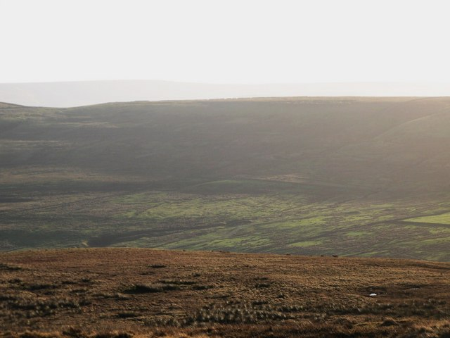 Panorama from the upper Rookhope lead smelting flue chimney (23: S - Scarsike Head)