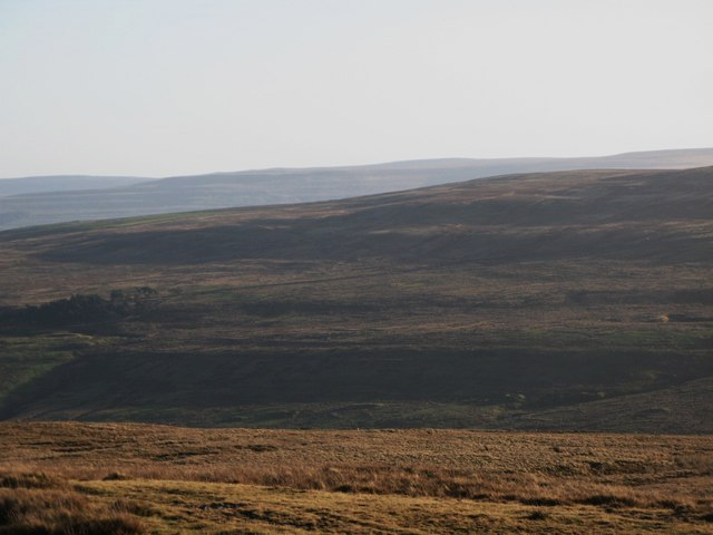 Panorama from the upper Rookhope lead smelting flue chimney (25: SSEb - Lintzgarth Common)