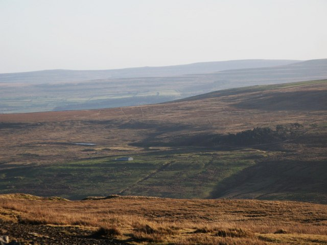 Panorama from the upper Rookhope lead smelting flue chimney (26: SEb - Lintzgarth Plantation)