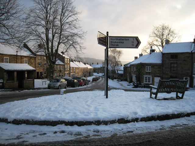 Osmotherley village green in the snow