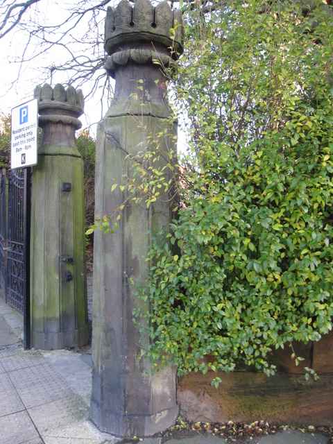 Gateposts and a bench mark in Hope Street