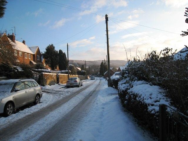 Snow-laden road in Osmotherley