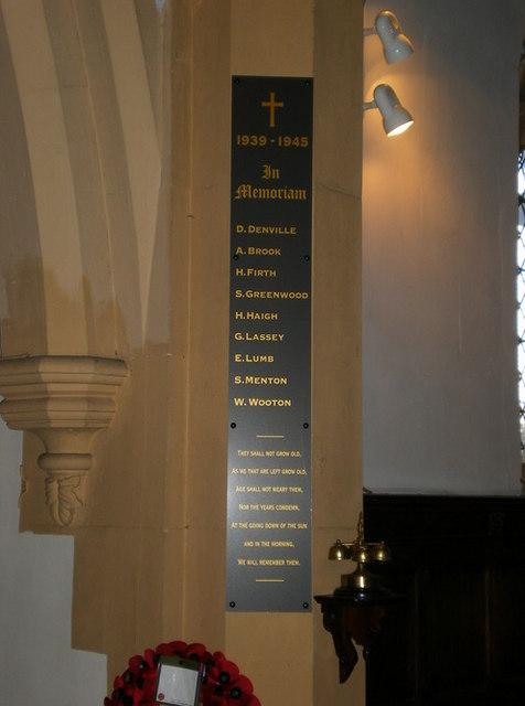Parish Church of St Thomas the Apostle, Claremont, War Memorial