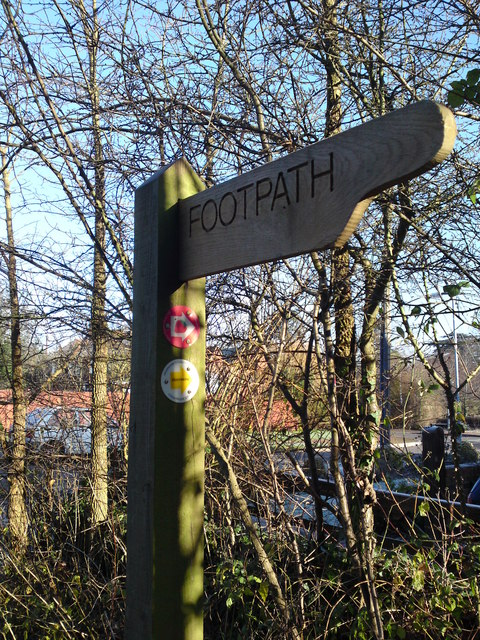 Footpath Sign with Strawberry Trail marker attached