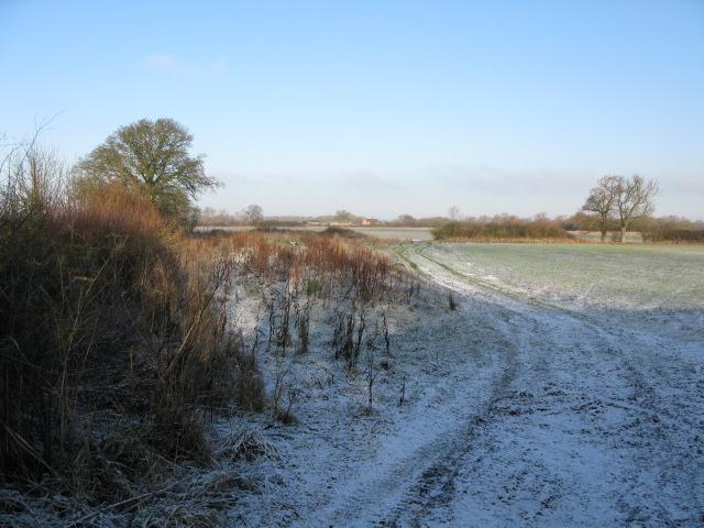 View across fields to Hinton Marsh Farm