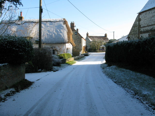Tuckers Lane in the snow, Hinton Parva