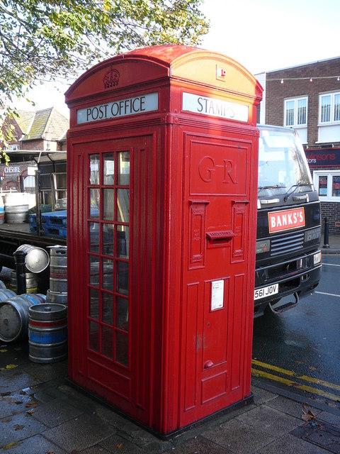 Rare style of telephone box and stamp machine , Church Street, Frodsham.